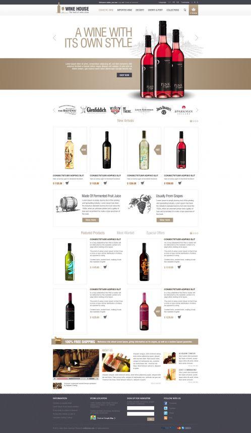 Wine House Responsive OpenCart Theme - Home Brown
