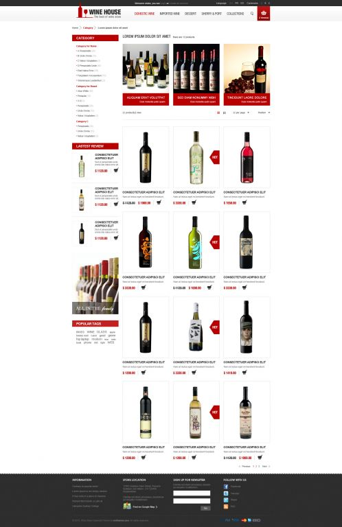 Wine House Responsive OpenCart Theme - Category Grid