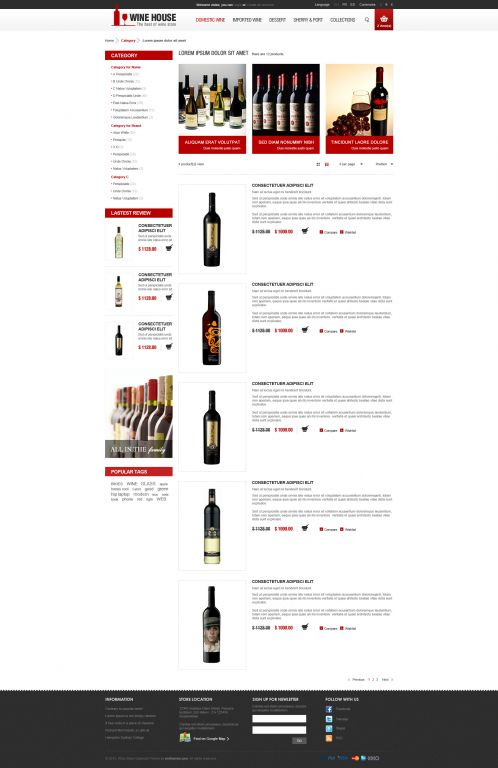 Wine House Responsive OpenCart Theme - Category List