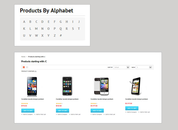 Products by alphabet