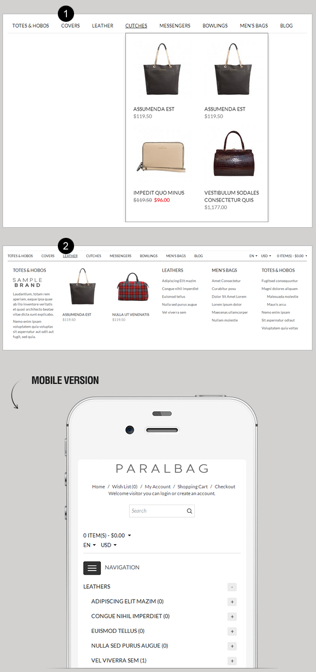 Opencart Fashion Bag Store - Parallax